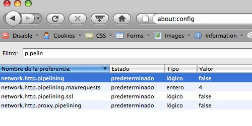 Pipelining en Firefox