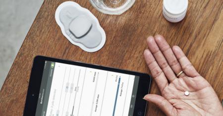 Píldora Proteus Digital Health, parche sensor y tablet