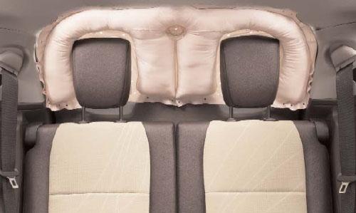 Airbag de cortina SRS en la luna trasera desplegado