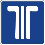 Señal de telepeaje, las vías marcadas con esta señal cuadrada permiten el pago por telepeaje, pero también por medios convencionales