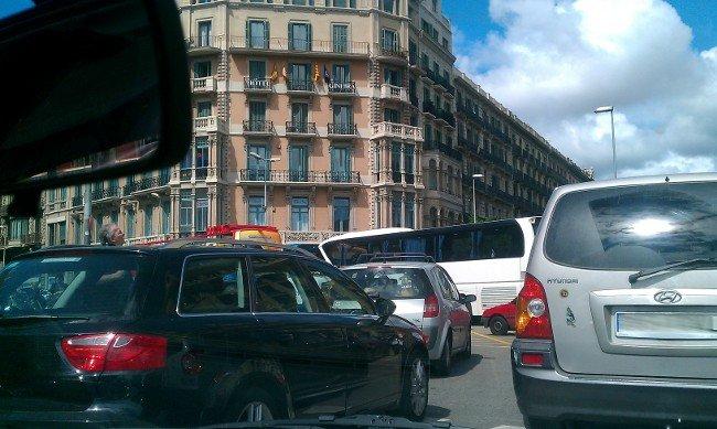 Congestión en el centor de Barcelona