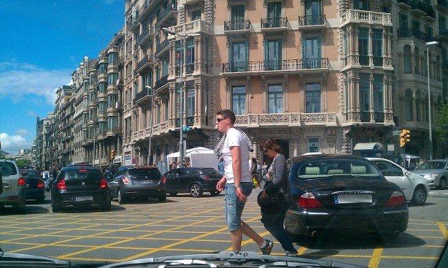 Congestión en el centro de Barcelona