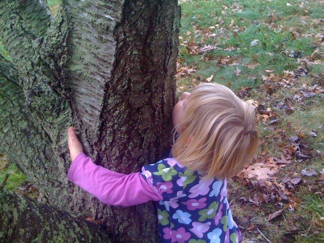 Esta niña se siente segura al abrazarse al árbol, está en casa