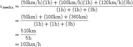 Velocidad media igual a distancia total entre tiempo total