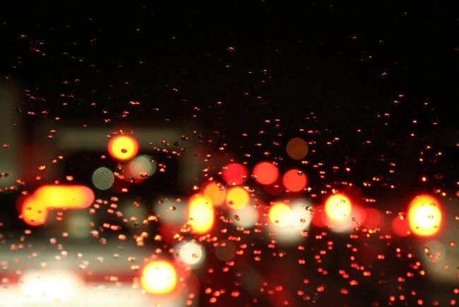 Conducción con lluvia, de noche