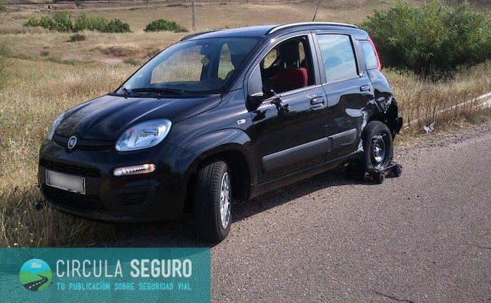 El coche de Juan Carlos, tras el accidente