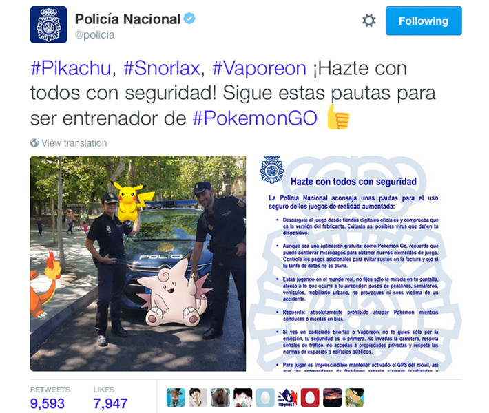 Policia Nacional en Twitter sobre Pokemon