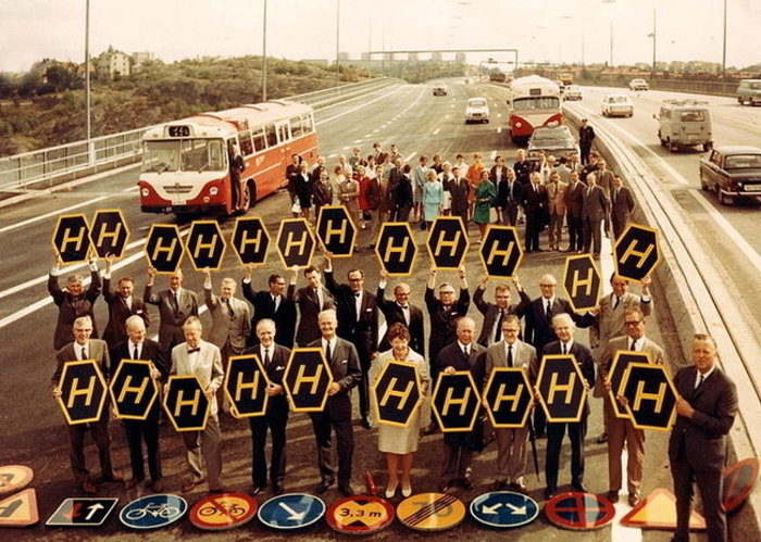Dagen H no Högertrafikomläggningen. Essingeleden, 1967