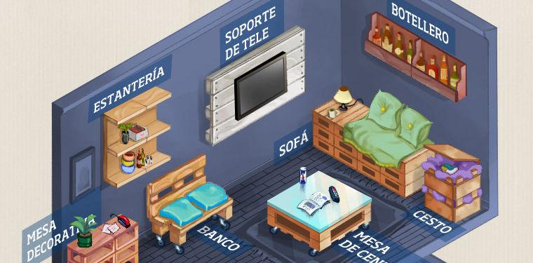 Infograf a 20 formas de aprovechar un palet para decorar for Formas para decorar una casa
