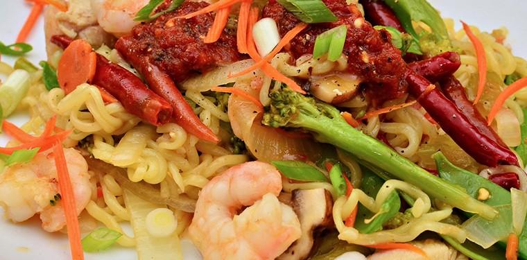 Noodles con gambas