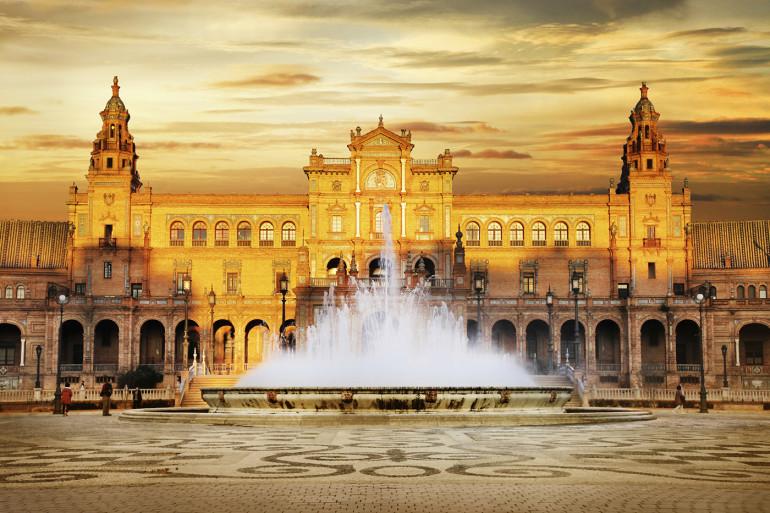 beautiful Plaza de Espana on sunset, Sevilla, Spain