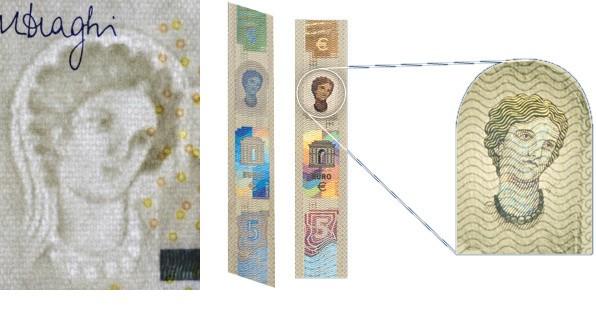Marca de agua y holograma en los nuevos billetes de 5 euros