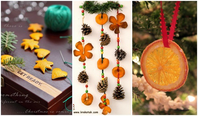 Naranjas en la decoración de Navidad