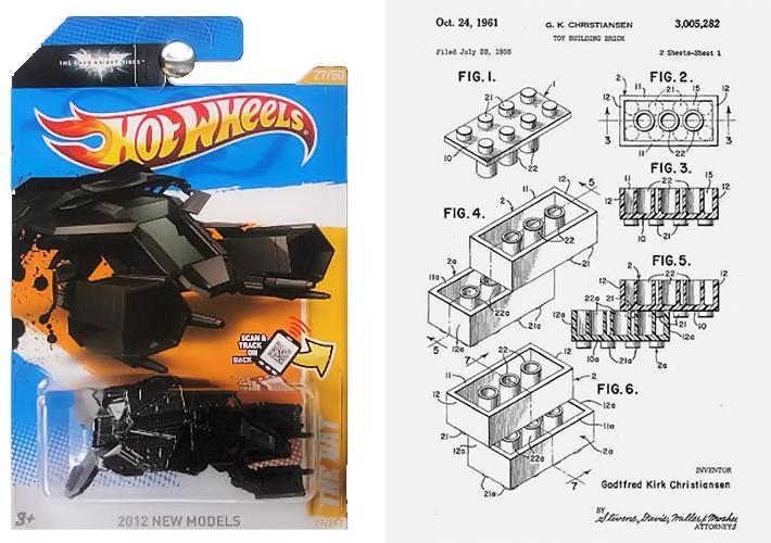 Modelo actual Hot Wheel, fuente Amazon / Patente de LEGO, 1961, documento de dominio público