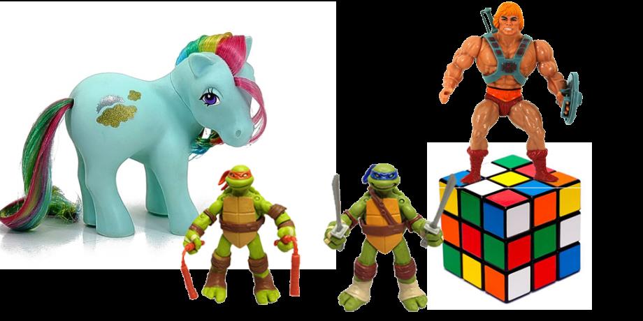 Muñecos coleccionables de My Little Pony, las Tortugas Ninja y He-Man, más un cubo de Rubik