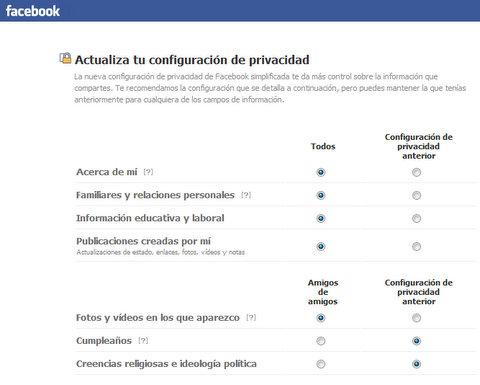 Opciones de privacidad en Facebook