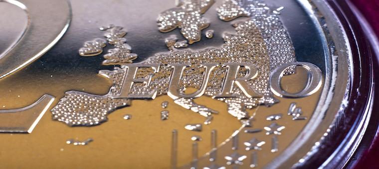 Closeup of coin 2 euro