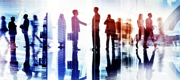 Abstract Image of Business Handshake in a Cityscape