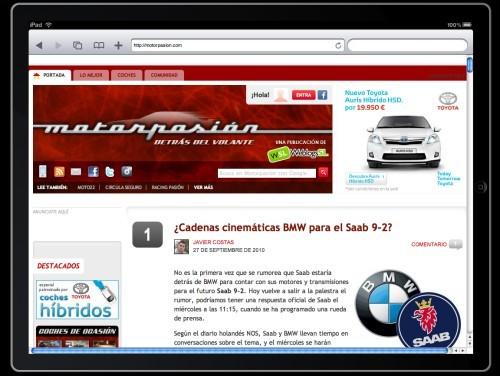 Campana Toyota Auris en iPad en Weblogs SL