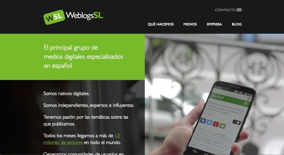 La portada de weblogssl.com vista en un ordenador convencional