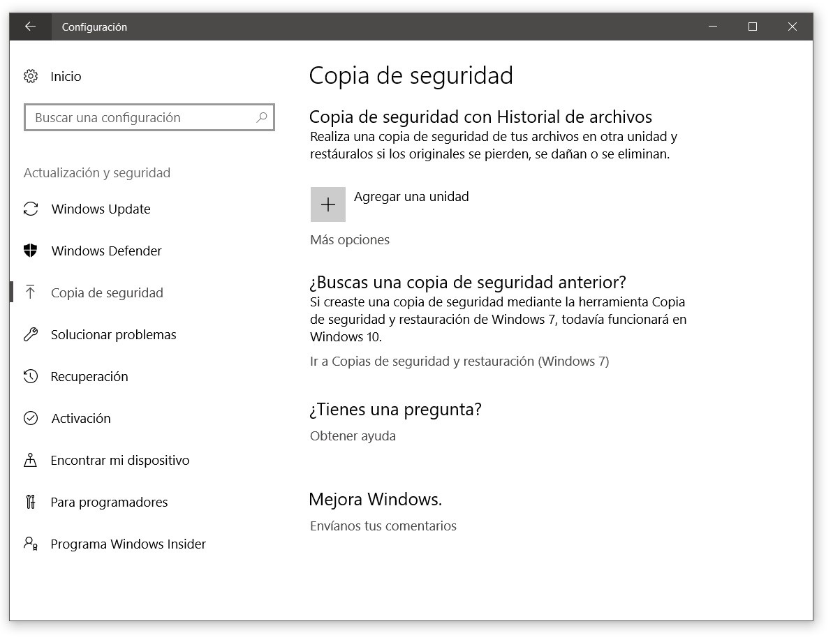 copias de seguridad windows historial de archivos
