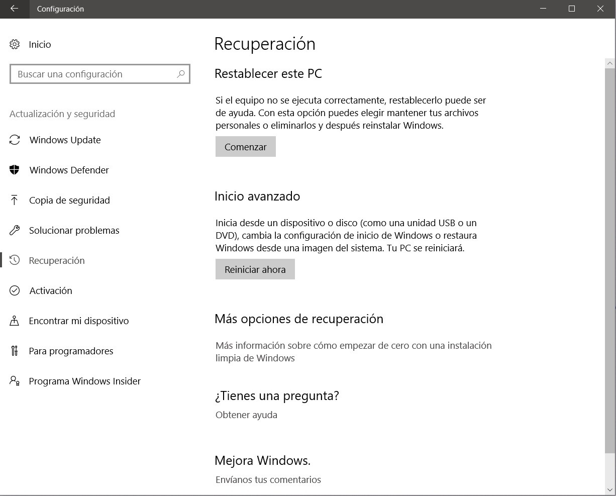 formatear PC restaurar ordenador windows update