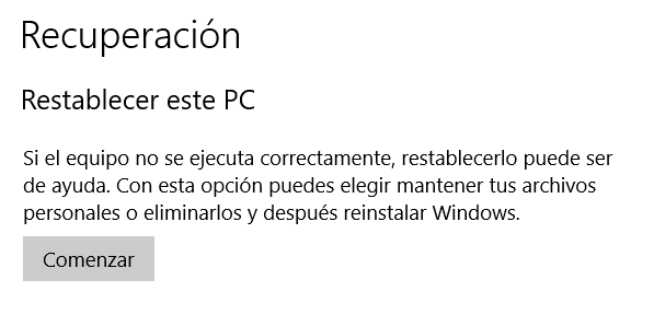 Recuperar PC Windows 10