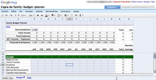 Google Docs: Hojas de cálculo
