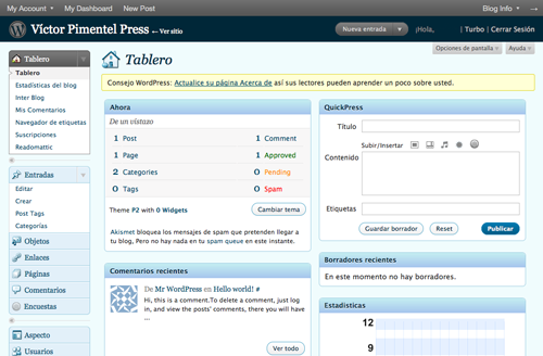 Tablero de entrada de WordPress.com