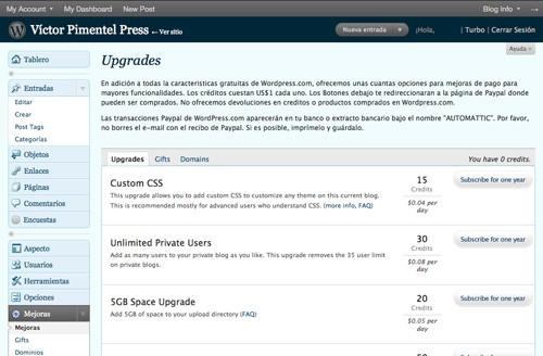 Extras de pago para WordPress.com