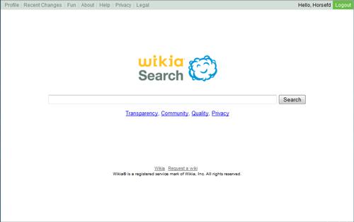 Wikia Search: página de inicio
