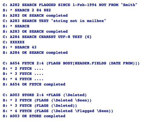 Ejemplo de cómo se busca correo, cómo se obtiene y cómo se borra en IMAP