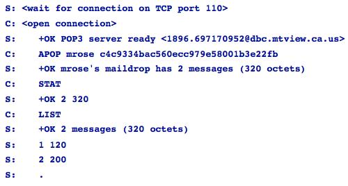 Parte inicial de una conexión POP
