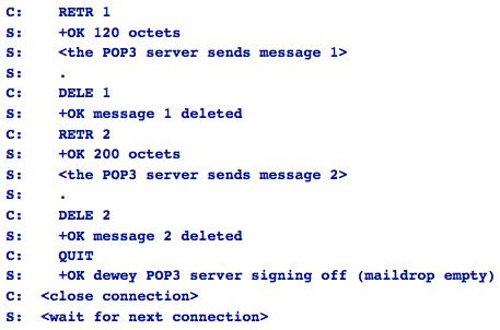 Parte final de una conexión POP
