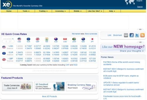 XE - web de conversión de divisas