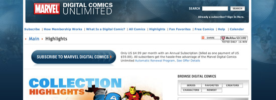 Marvel Digital comics