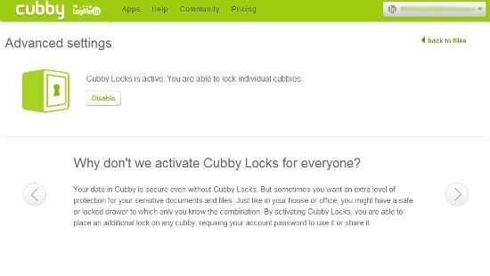 Bloqueo Cubby