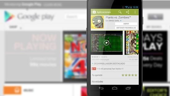 Devolución app Google Play