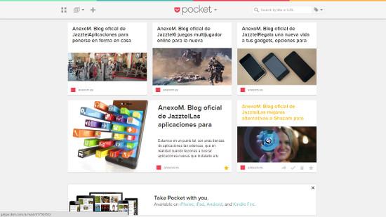 Pocket, cómo ver paginas web sin conexión a internet