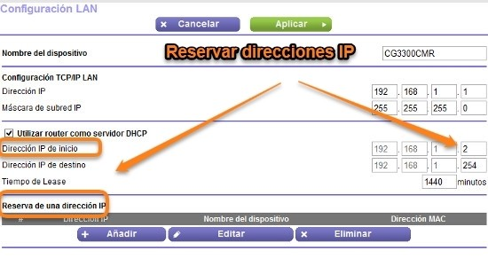 IP fija, reserva de direcciones