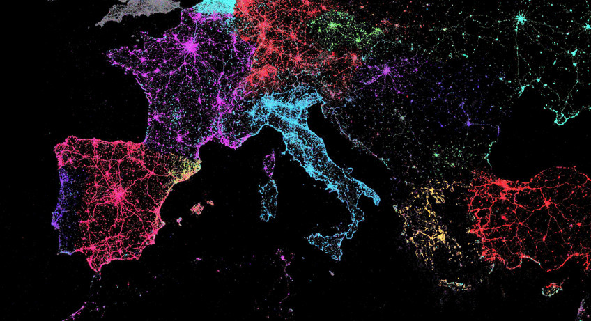 Mapa de lenguas utilizadas en Twitter de Eric Fischer
