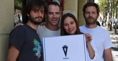 Inés Quintanar junto a compañeros del equipo de Hiperión. Foto Miguel Vega.