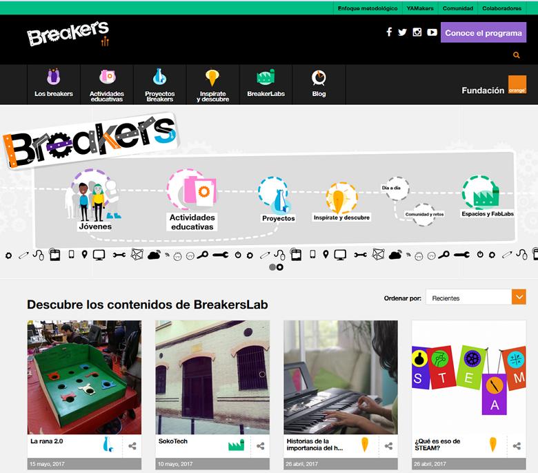 Pantalla inicial de la web Breakerslab.org