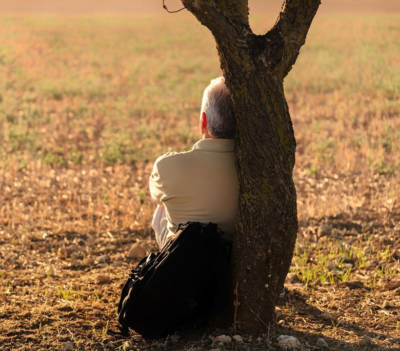 Hombre soledad, sentado en el campo. Relato redes sociales