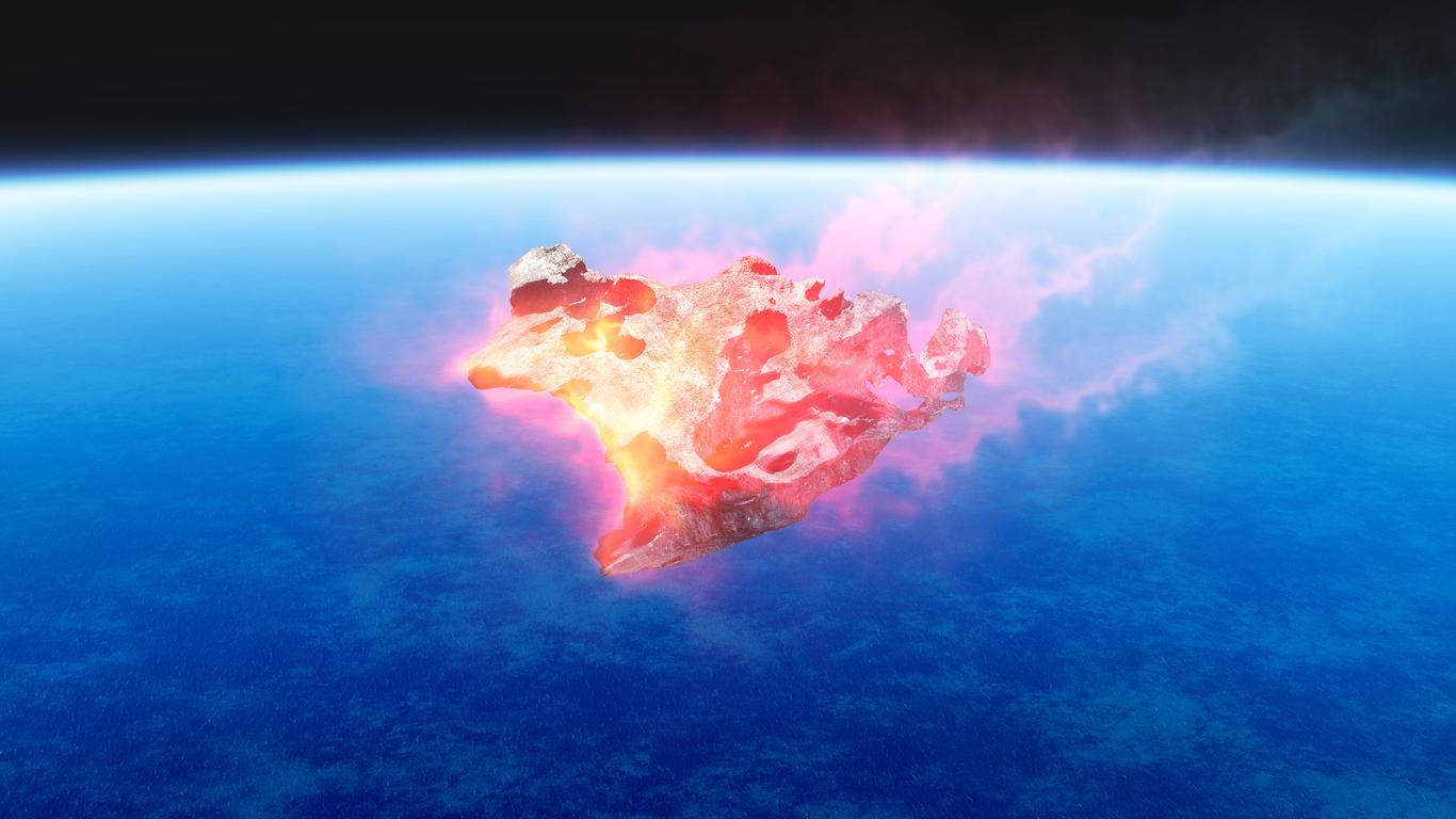 Asteroide entrando en la atmósfera terrestre