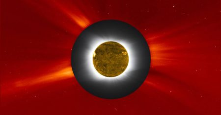 Williams College Eclipse Expedition - Jay M. Pasachoff, Muzhou Lu, and Craig Malamut; SOHO's LASCO image courtesy of NASA/ESA; solar disk image from NASA's SDO; compositing by Steele Hill, NASA Goddard Space Flight Center.