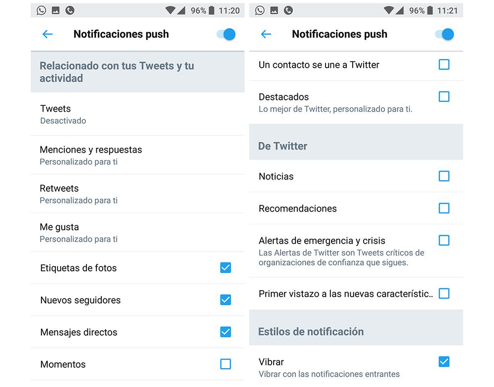 gestionar las alertas de twitter