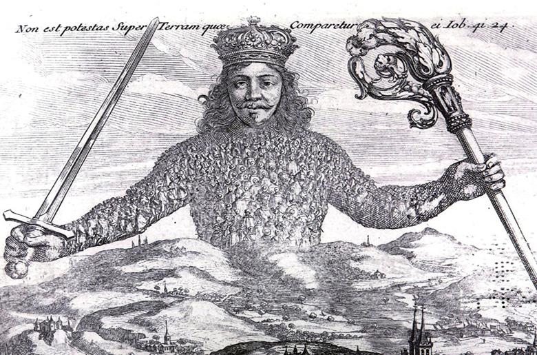 Portada del Leviatán de Hobbes. Artículo sobre Facebook o Google como nuevos estados.