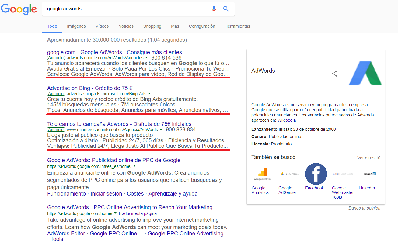 google adwords sabe de ti