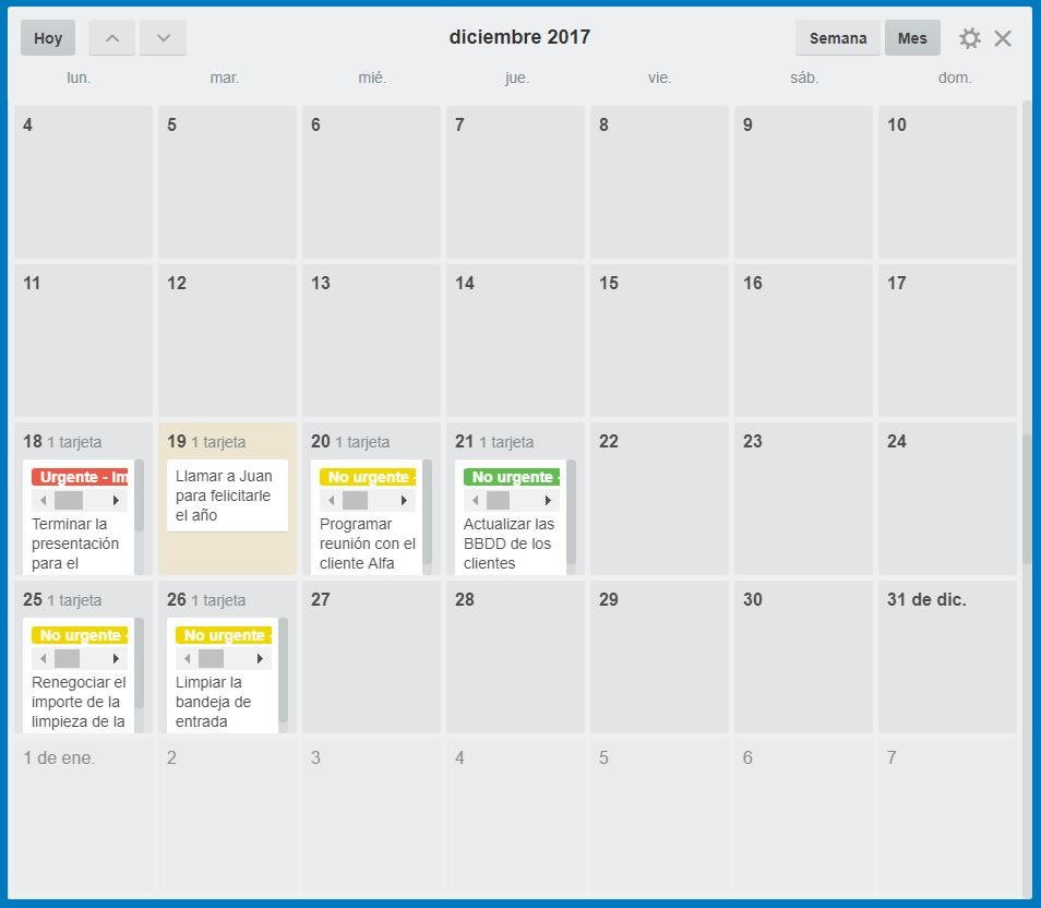 trello vista de calendario